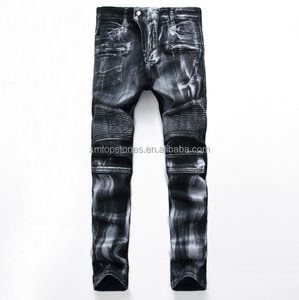 2017 Hot Sale Destroy Wash Denim Jean Slim Fit Ripped Mens Biker Jeans With OEM Service