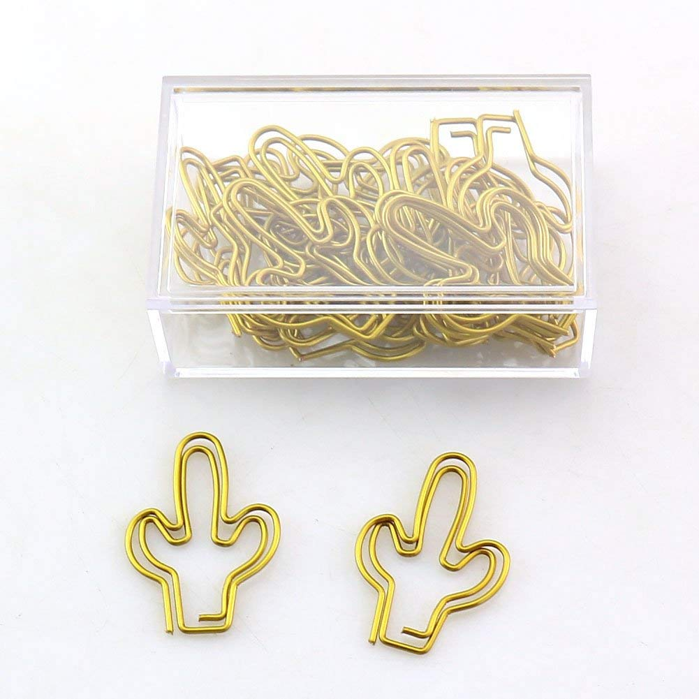 OUTU big size 20pcs/box green/gold Cactus Shape Paper Clips Funny Kawaii Bookmark Office School Stationery Marking Clips H0117 (gold 1)