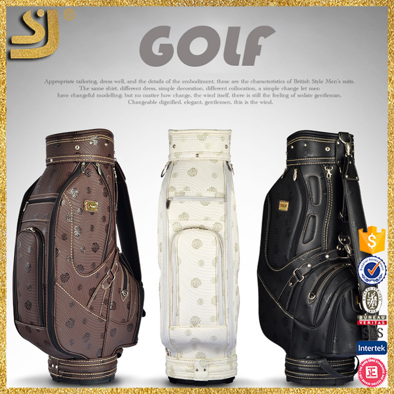 wholesale Vintage Style Professional Waterproof leather handle stand golf bag rain cover