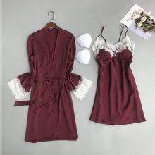 Женский ночной халат Fdfklak, комплект ночного белья из 2 предметов с глубоким вырезом, весна-лето 2019(Китай)