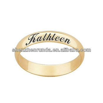 Gold Engraved Name Message Wedding Band Stainless Steel Ring Manufacturer Factory Supplier