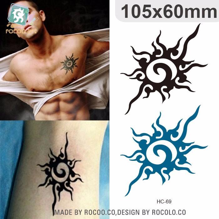 Hc69 Venta Al Por Mayor Temporal Tribales De Sol Simbolo Tatuaje
