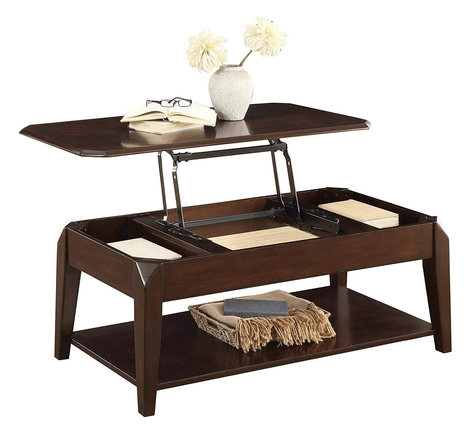 Schmier Modern Cocktail Table with Lift Top on Casters in Warm Cherry