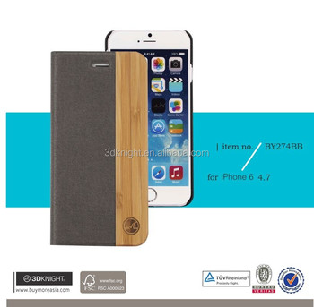 Fashion Mobile Accessories Laser Engraving Wood Bamboo Leather Flip Case for iPhone 6, Wooden Flip Stand Phone Cover for iPhone
