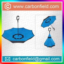 New inventions of China supplier hot on facebook of Reverse upside down double layers reverse umbrella with 8 K