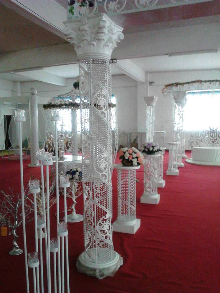 new fashion metal and crystal wedding decorating roman pillar column