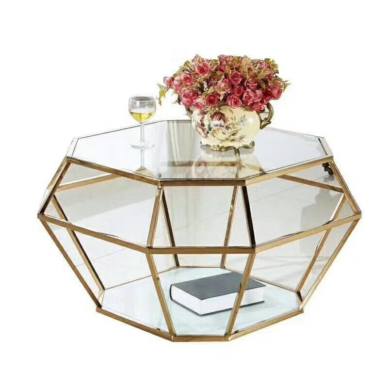 Modern Gold Stainless Steel Leg tempered glass top Luxury Coffee tea <strong>table</strong>