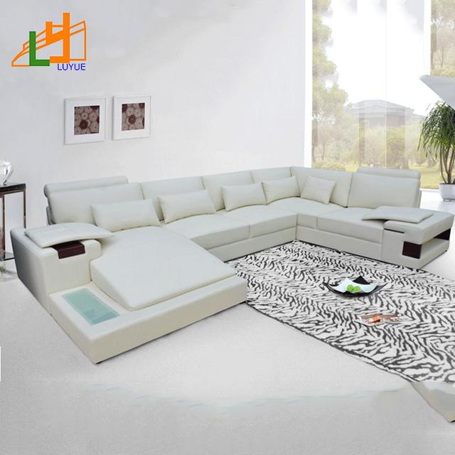 Top Verkauf Modernes Design Angepasst Echtes Leder Wohnzimmer Möbel U Form  Ecksofa 5 Sitzer Luxus Sofa