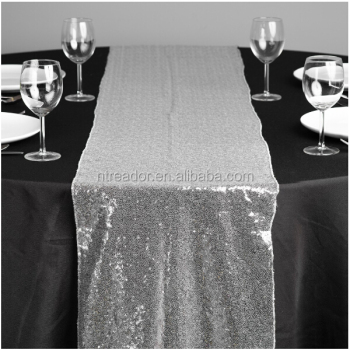 Charmant Cheap Silver Sequin Dining Table Runner