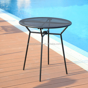 Stock Outdoor Black Steel Mesh Top Patio Bistro Cafe Table