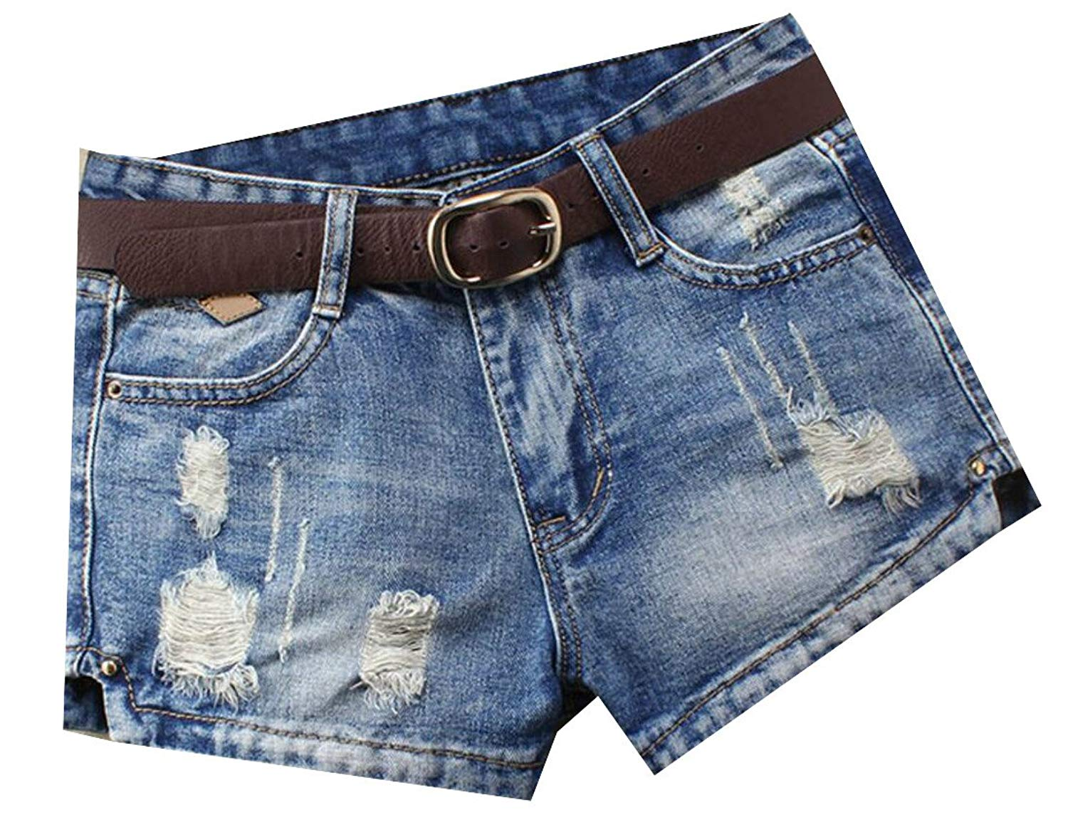 fe4a49f366 Get Quotations · SHOWNO-Women No Belted Shorts Mid Waisted Baggy Ripped  Holes Denim Shorts Jeans
