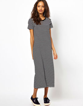 920cb0c4f5 Ecoach New Look 100% Cotton Ribbed Scoop Neck Striped short sleeve maxi  dress