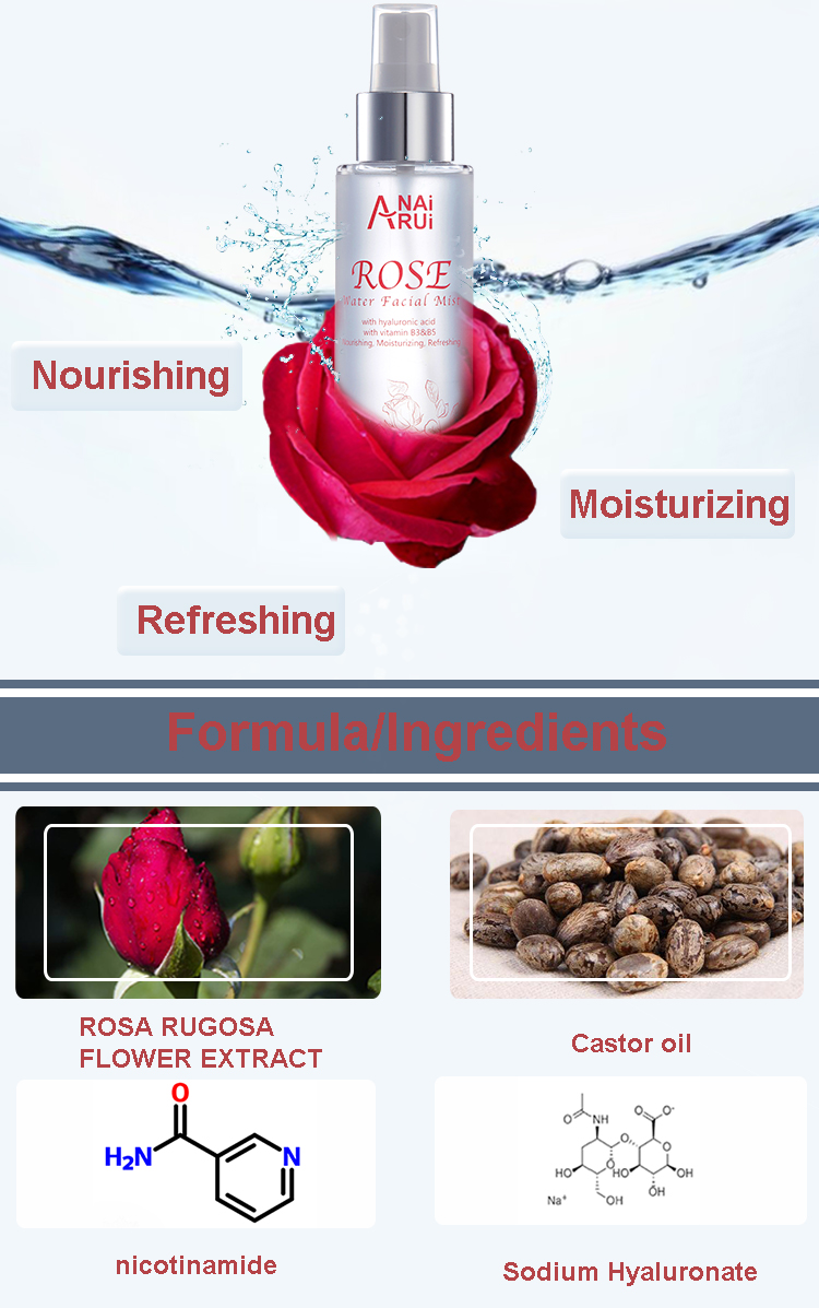 OEM Private label Moisturizing rose flower extract care toner best nourishing refreshing whitening facial skin toner Spray