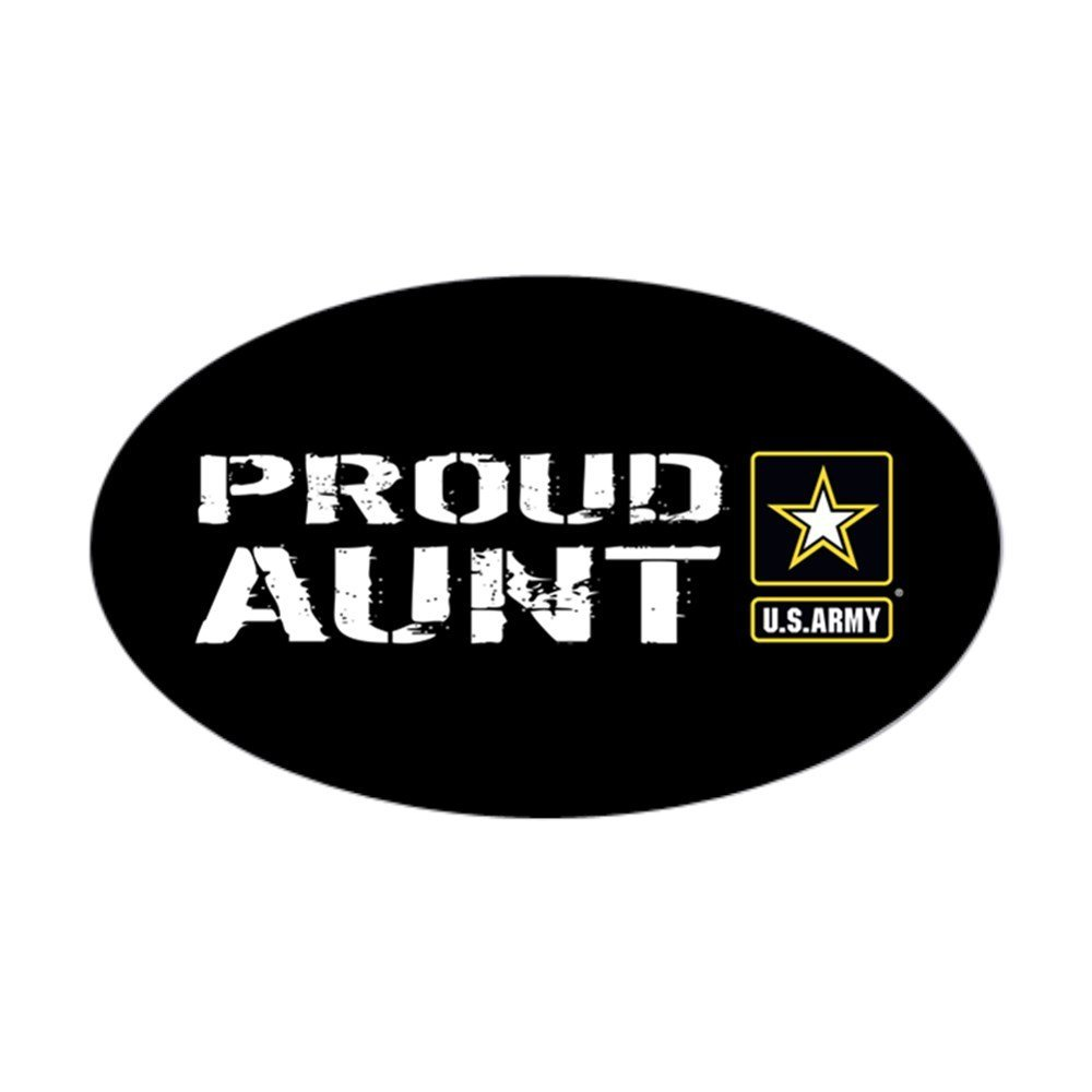 CafePress - U.S. Army: Proud Aunt (Black) Sticker (Oval) - Oval Bumper Sticker, Euro Oval Car Decal