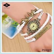 PS0085 Alloy Achieve Charms Girls DIY braided leather multilayer watch Charms Bracelet