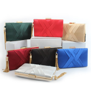 Evening Clutch Bags Cotton Fabric Evening Bag With Chain Shoulder Bag Women's Handbags Wallets Tassel Purse For Wedding Party