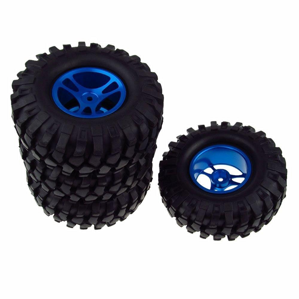 JIUWU 4PCS 1/10 Racing Climbing 108mm Tyre RC Tires & Aluminum Wheels for Rock Crawler Blue
