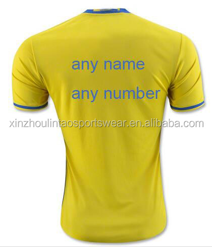 Free shipping to Sweden customized name number soccer jersey 2016 home yellow top quality football shirt