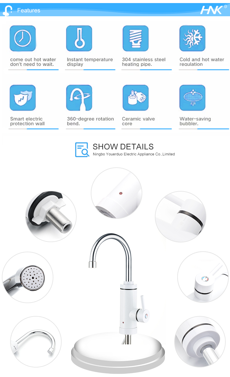 Wall Install Kitchen Tap faucet Instant Electric Water Heater Mixer