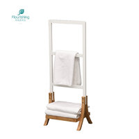 Eco-Friendly Natural Bamboo Stand Bathroom Ladder Towel Rack