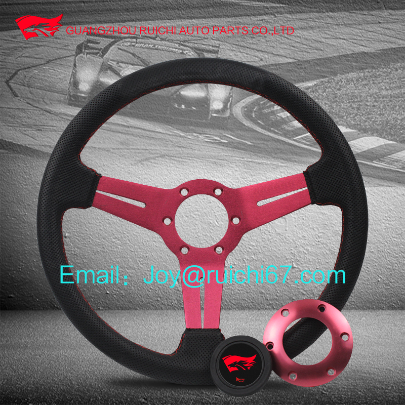 350MM Universal 14 inch Sport Racing Steering Wheel PU/Genuine Leather F1 Horn Car Vent