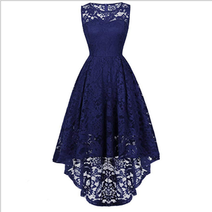 2019 European style 11 color sexy lace dress O-neck sleeveless evening dress