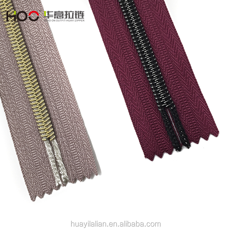 Top quality #7 nylon light golden long chain for hot sale