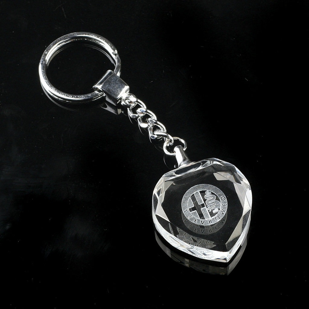 Hot sell Cheap heart shape crystal LED key chains key rings with engraved laser logo