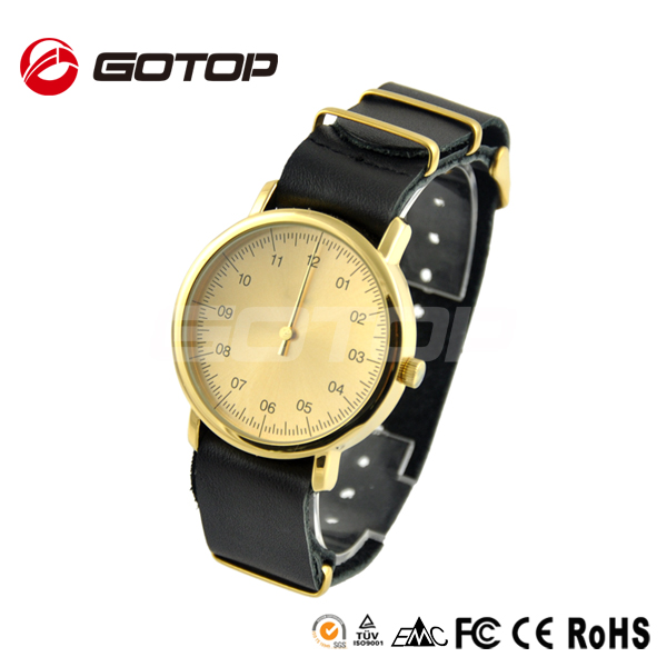 Stainless steel back case gold plated with single hands original designer watches