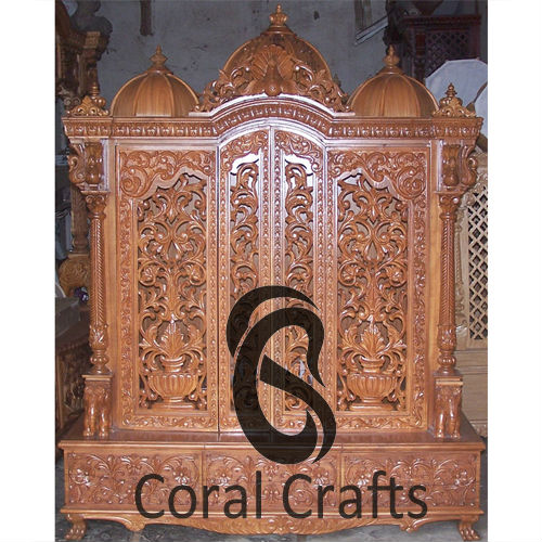 Temple With Doors Carved From Teak Wood Buy Wooden Mandir For Home Product On Alibaba Com