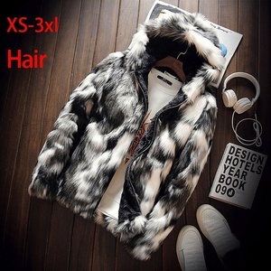 Winter Fashion Fur Coat Men's Clothing Thick Faux Fur Zipper Jacket Hooded JacketXS-8XL