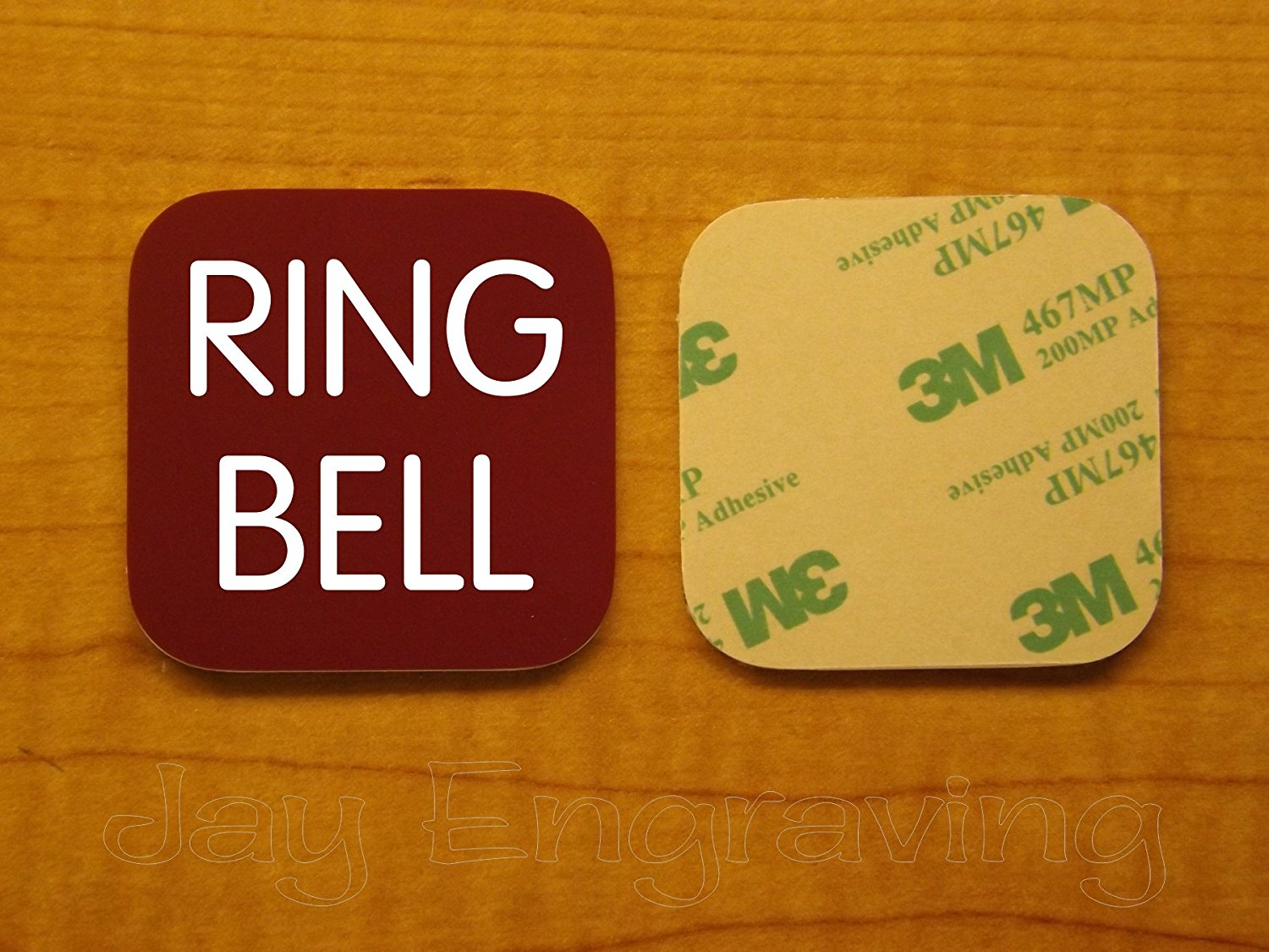 Get quotations · engraved 3x3 inch ring bell adhesive backed plate door bell name tag sign
