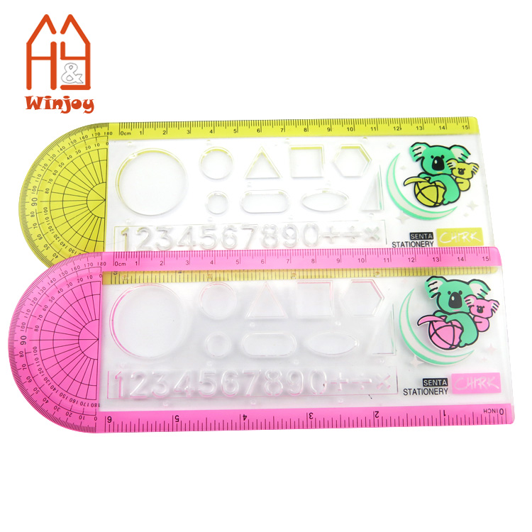 Student stationery fashion design curve drawing ruler,6 inch& 15 CM math geometry tools transparent ruler.