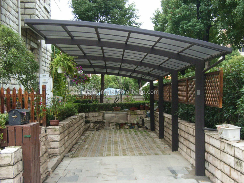 Long span rust proof aluminum frame solid polycarbonate for Single slope carport