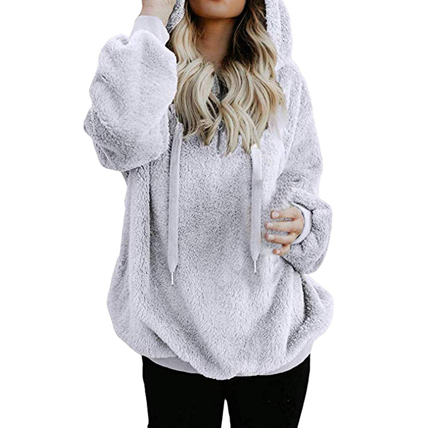 Get Quotations · Handyulong Womens Hoodies Teen Girls Casual Winter Warm  Fleece Tunic Hooded Sweatshirts Pullover Blouse Tops Shirts 2e08f97a5d