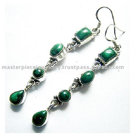 Finesque !! Pear Shape Emerald & Diamond Gold Polish 925 Sterling Silver Earring, Dangler SIlver Earring, Silver Jewellery