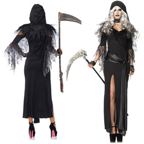 Sexy witch halloween costumes black Women Ghost cosplay costumes Irregular Vagrant  lace dress open fork sexy gown with hood