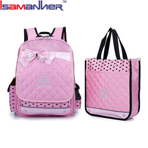 Unique chic bowknot latest girl school bag and lunch bag set