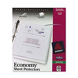"Avery - 2 Pack - Top-Load Poly Sheet Protectors Economy Gauge Letter Semi-Clear 100/Box ""Product Category: Binders & Binding Systems/Sheet Protectors Card & Photo Sleeves"""