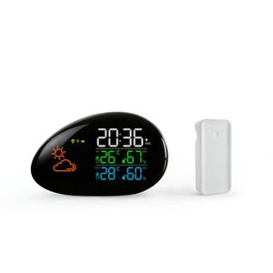 Digital Wireless LED Stone Weather Station to Monitor Indoor Outdoor Temperature Humidity Thermometer Time Weather Forecast