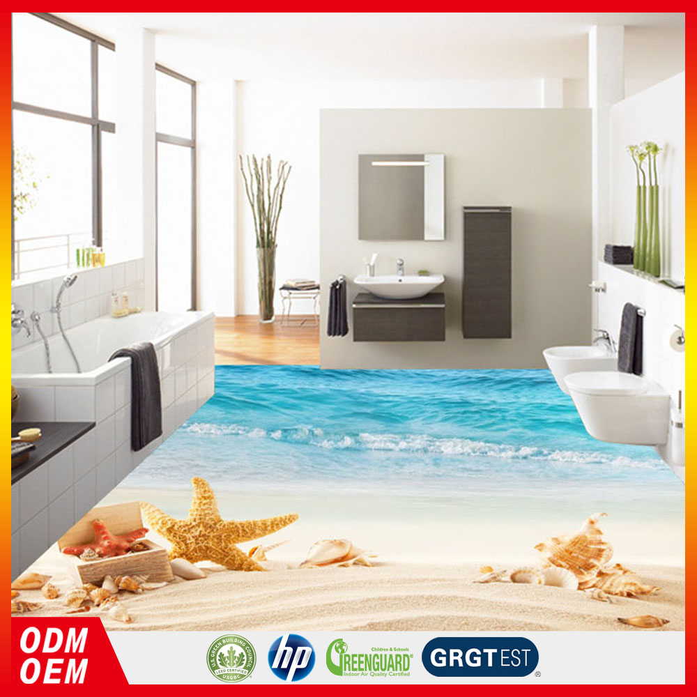 Beach style 3D flooring beautiful sand beach sea view starfish shell 3D floor sticker with 3d printing