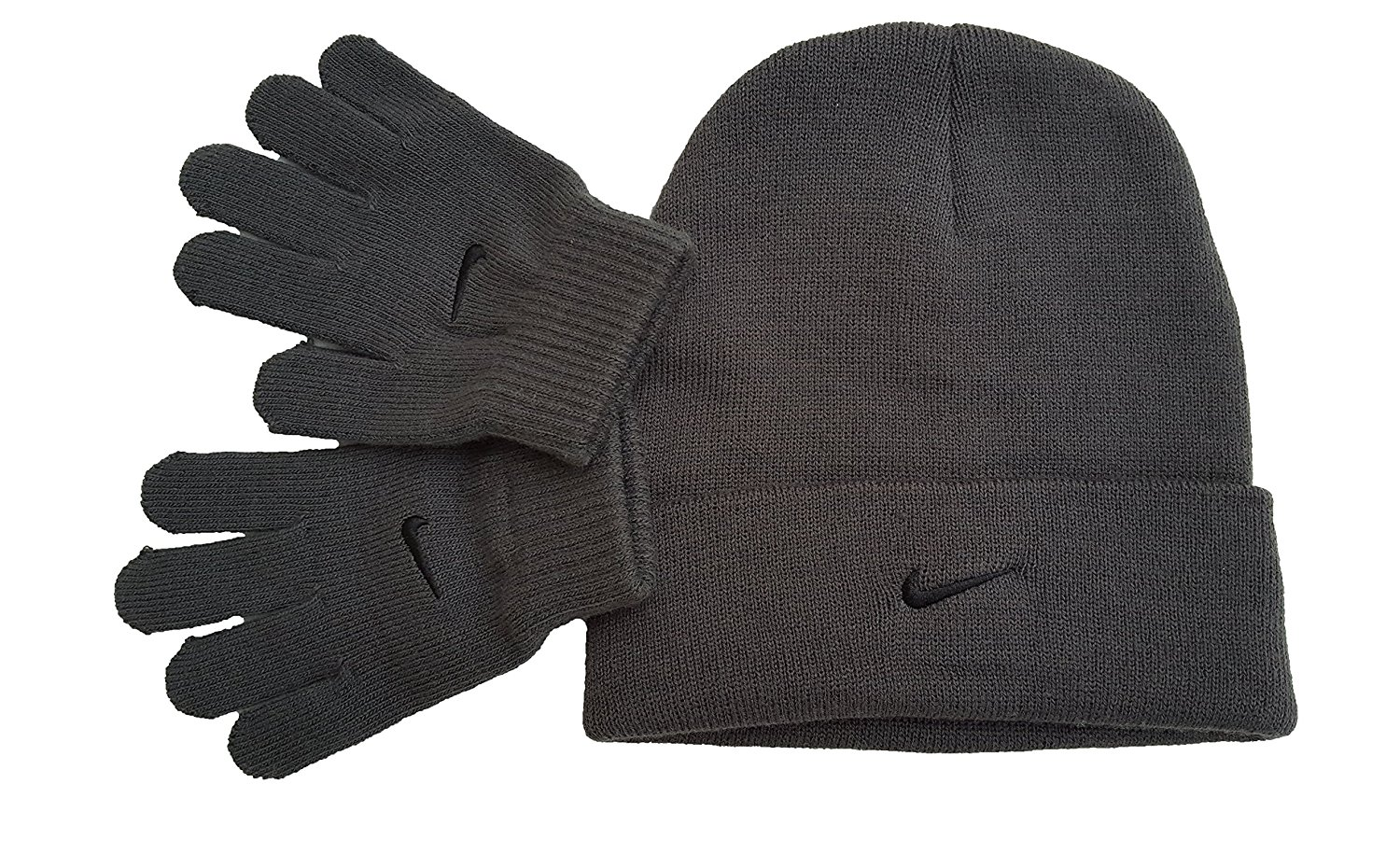 17180b31ff2df0 Get Quotations · Nike Swoosh Boys Winter Hat Beanie Cap Gloves Set  Anthracite 8 20