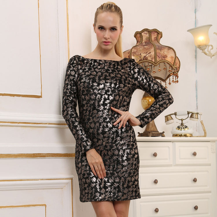 Western Style Adult Ladies Sexy Bodycon Party Clubwear One Piece Long Sleeve Mature Women Night Club Mini Gold Sequin Dress