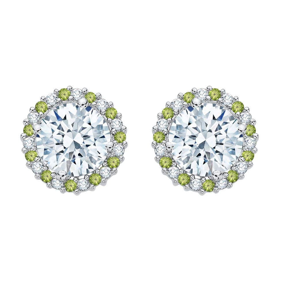 Get Quotations Alternating Diamond And Peridot Earring Jackets In 14k White Gold 5 8 Cttw