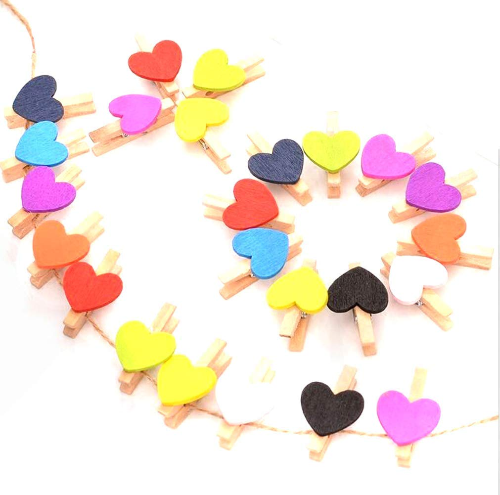 50PCS Mini Multicolored Wooden Heart Shape Picture Clips Clothespins Photo Craft Clothespins for Office Activities House Decoration Wedding Party Christamas Festivaland More