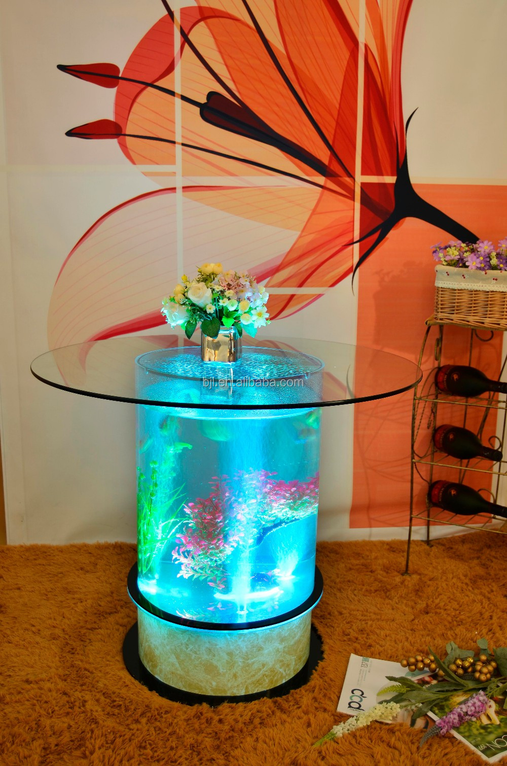 Led Acrylic Light Table Water Bubble Decor Round Coffee Table Fish ...