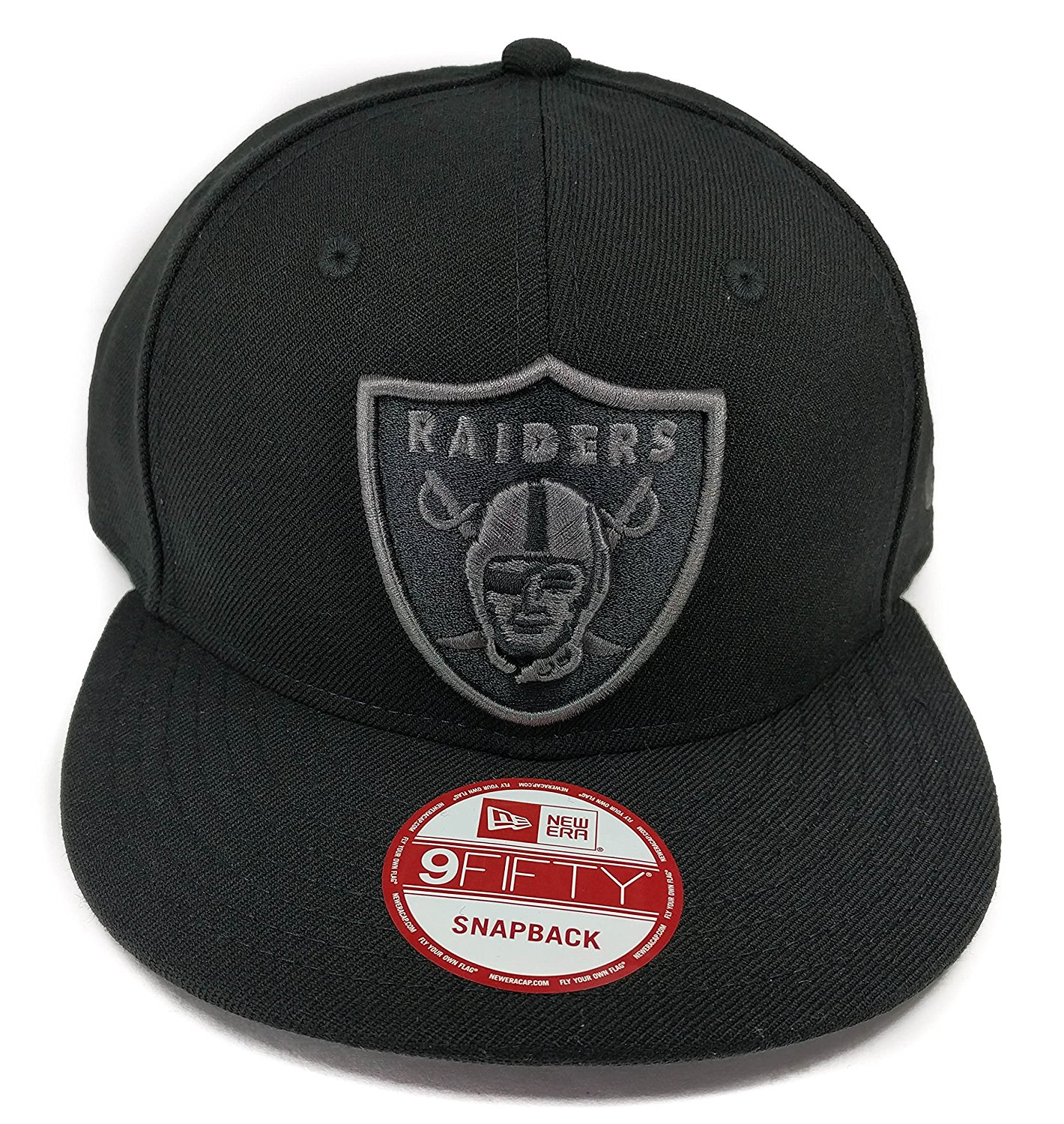 bc9c9807469 Get Quotations · New Era Los Angeles Raiders 9Fifty Black and Black Solid  Basic Logo Adjustable Snapback Hat NFL
