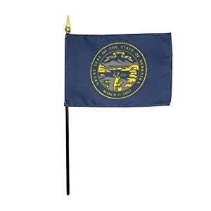 "Nebraska 1925 State Hand Held Desk Table Top Polyester Flag 4"" X 6"" on 10"" Black Plastic Staff with Gold Spear Tip (12 Pack)"