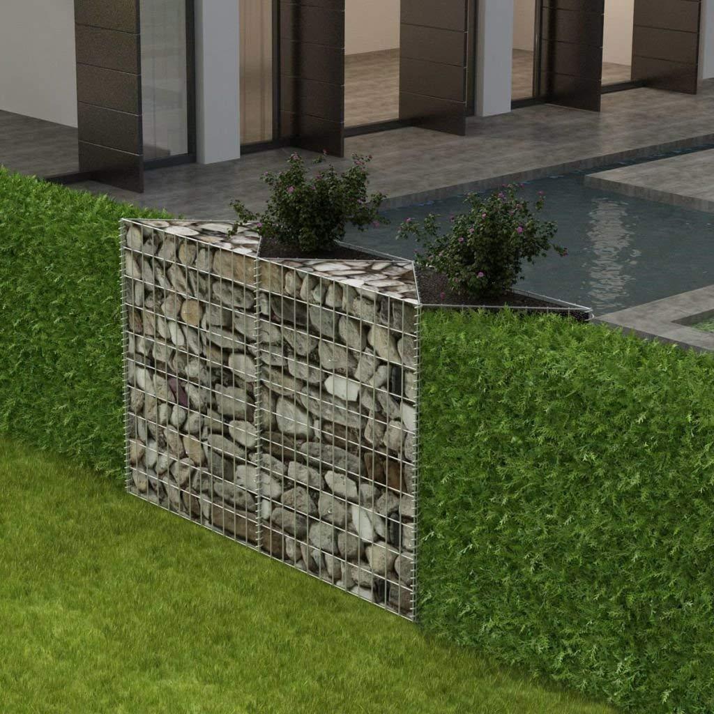 """Festnight Outdoor Garden Gabion Stone Basket Planter Raised Vegetable Bed,Steel Garden Decoration, Galvanized Steel 59"""" x 11.8"""" x 39.4"""""""