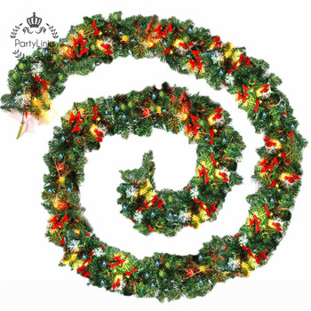 Plain Green Christmas Garland with Warm White Led Light Artificial Wreath Fireplace Xmas Tree Decoration